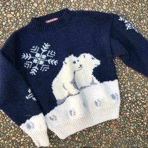 Vintage Polar Bear Hand Knit Ski Sweater M S